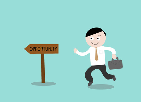 Opportunity, a hand drawn vector illustration of a businessman heading towards his opportunity to success.