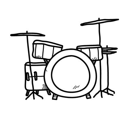 Drum Set Doodle, a hand drawn vector doodle illustration of a drum set. Ilustração