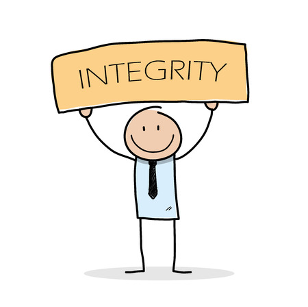 Integrity, a hand drawn vector illustration of a stick figure businessman holding a board with INTEGRITY written on it. Ilustração