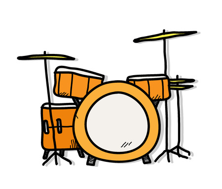 Cymbals: Drum Kit, a hand drawn vector illustration of a drum set. Illustration