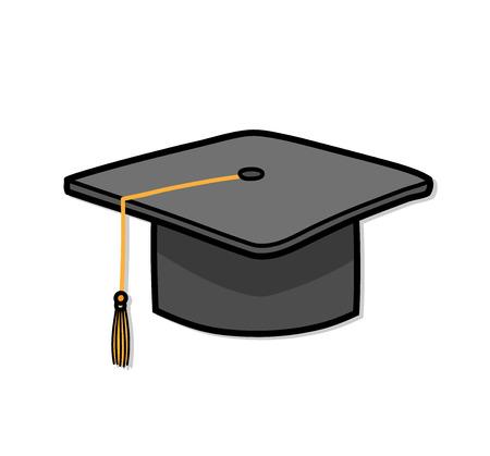Graduation Cap Bachelor Hat Education. A hand drawn vector cartoon illustration of a graduation cap.