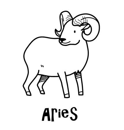 Aries Zodiac, a hand drawn vector cartoon doodle illustration of Aries zodiac, The Ram.