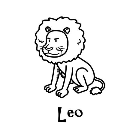 Leo Zodiac, a hand drawn vector cartoon illustration of Leo zodiac, The Lion.