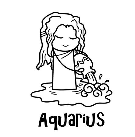 Aquarius Zodiac, a hand drawn vector cartoon illustration of Aquarius zodiac, The Water Bearer.