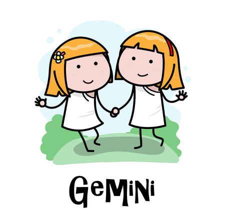 Gemini Zodiac, a hand drawn vector cartoon doodle illustration of Gemini zodiac, The Twins.