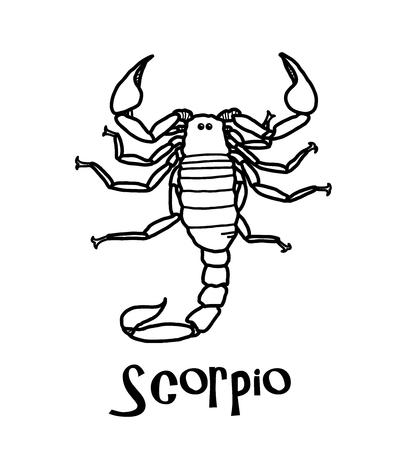 Scorpio Zodiac, a hand drawn vector cartoon illustration of Scorpio zodiac, The Scorpion.
