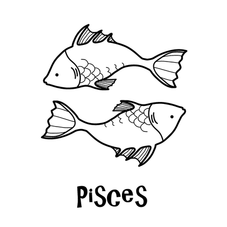 Pisces Zodiac, a hand drawn vector cartoon illustration of Pisces zodiac, The Fish.