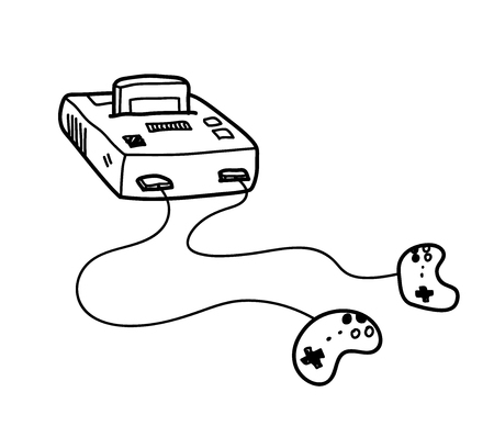 Classic Video Game Console Doodle, a hand drawn vector doodle illustration of a classic video game console.