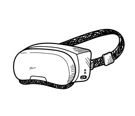 VR Doodle, a hand drawn vector doodle illustration of a Virtual Reality system. Ilustração
