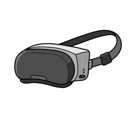 VR Virtual Reality System, a hand drawn vector illustration of a Virtual Reality system.