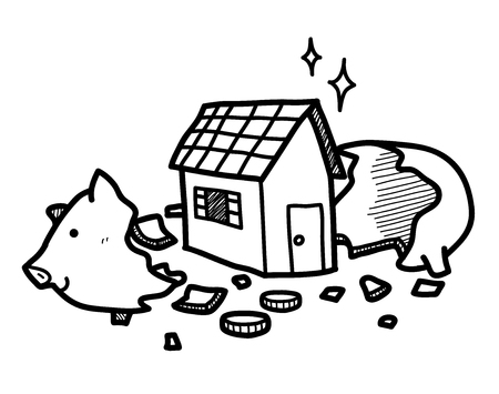 Saving Money for A House in a Piggy Bank, a hand drawn vector doodle illustration of a cracked open piggy bank with a house inside.