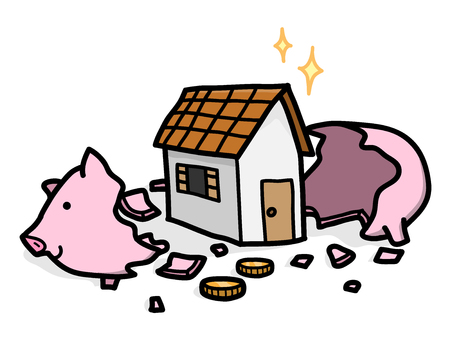 Saving Money for A House in a Piggy Bank, a hand drawn vector cartoon illustration of a Home Investment Concept Vectores