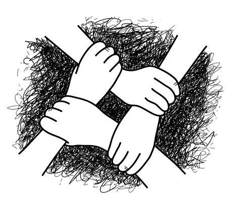 Business Teamwork, a hand drawn vector illustration of 4 hands interlocking with each other. Vectores