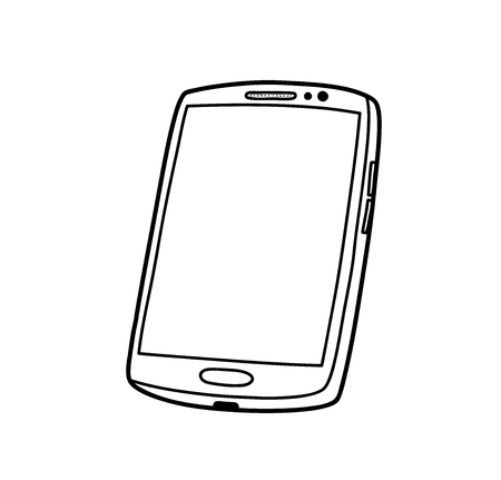 Smartphone Doodle, a hand drawn vector illustration of a high-end smartphone