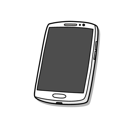 Smartphone or Mobile Phone, a hand drawn vector illustration of a high-end smartphone