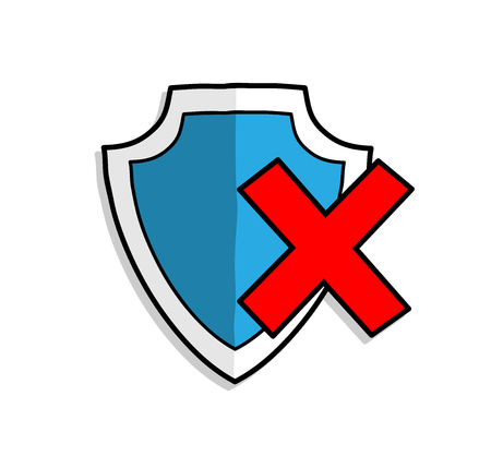 Antivirus Shield Protection OFF, a hand drawn vector illustration of a antivirus shield protection symbol.