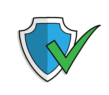 Antivirus Shield Protection ON, a hand drawn vector illustration of a antivirus shield protection symbol.