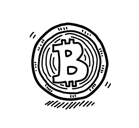 Hand Drawn Bitcoin Doodle, a hand drawn vector doodle illustration of a bitcoin. Vectores