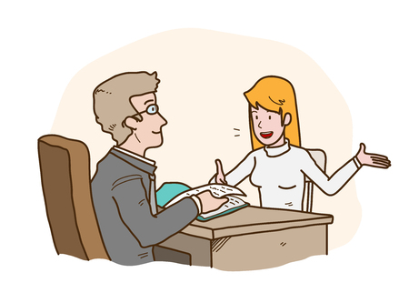 Job Interview Presentation, a hand drawn vector cartoon illustration of a job seeker introducing herself to the HRD manager. Vectores