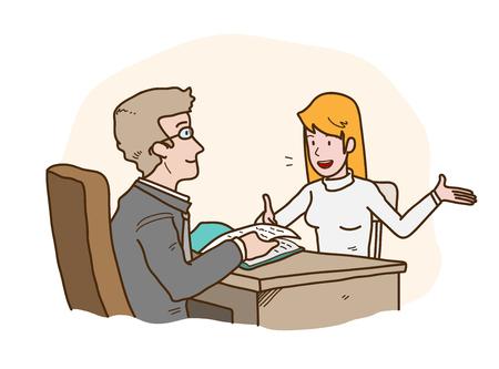 Job Interview Presentation, een handgetekende cartoon vectorillustratie van een werkzoekende die zichzelf voorstelt aan de HRD-manager. Vector Illustratie