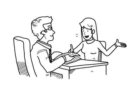 Job Interview Presentation, a hand drawn vector cartoon illustration of a candidate introducing herself to the HRD manager.