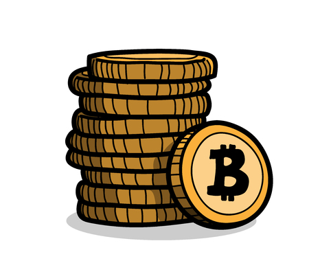 Stack of Bitcoin Coins, a hand drawn vector cartoon illustration of a stack of bitcoin.