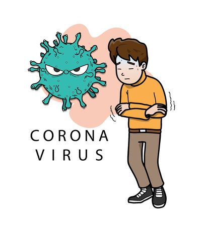 Covid-19 virus symptoms causing high fever and headache to an infected person  イラスト・ベクター素材