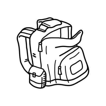 Backpack doodle, hand drawn vector doodle illustration of a backpack, isolated on a white background. 矢量图像