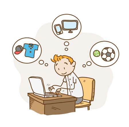 Online Shopping from home, a hand drawn vector doodle flat illustration of a man sitting in front of laptop, browsing for things to buy online.