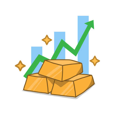 Gold price increase, vector flat illustration of increasing gold price arrow chart, isolated on white background.