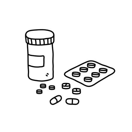 Prescription drugs and medicine doodle, hand drawn vector doodle illustration of various medicine tablets and drug pills for medical purposes, isolated on white background.