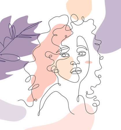 Abstract continuous line drawing of a beautiful girl with desaturated color background, hand drawn vector continuous one line art of a beautiful woman