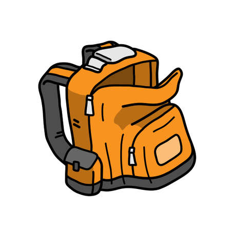 Backpack, hand drawn vector doodle illustration of a backpack, isolated on a white background. 矢量图像