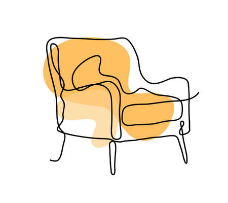 Continuous line drawing of a chair sofa with desaturated background color, hand drawn aesthetic continuous line drawing of a chair. 矢量图像