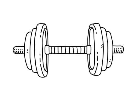 Barbell doodle, hand drawn vector doodle illustration of a barbell for fitness and strength exercise