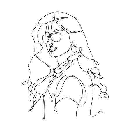 Continuous one line drawing of a stylish girl wearing sunglasses, hand drawn vector continuous one line art of a beautiful woman 矢量图像