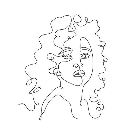 Continuous one line drawing of a beautiful girl, hand drawn vector continuous one line art of a beautiful woman 矢量图像