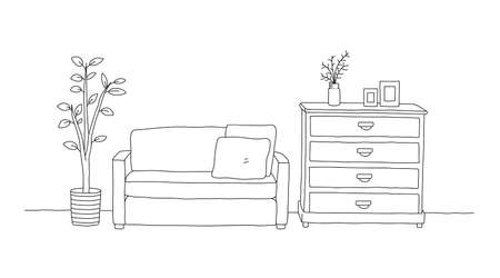 Minimalist interior furniture of sofa with chest of drawers table and interior plant. hand drawn vector doodle illustration interior minimalist design.