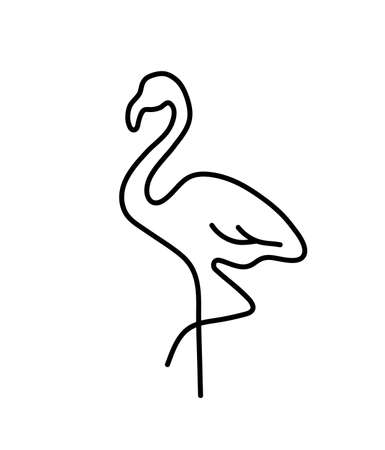 Flamingo bird line art logo silhouette isolated on white background. hand drawn vector illustration