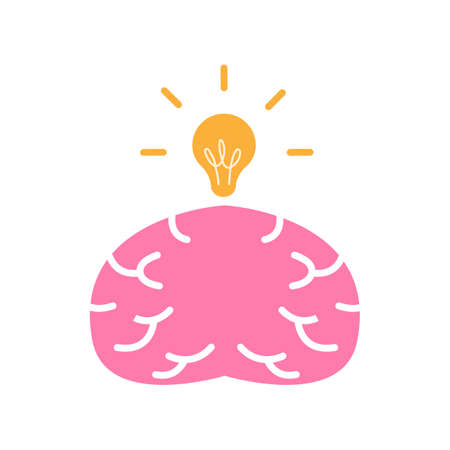 Brain with bright ideas, a vector flat design illustration of a brain and a light bulb, a symbol of creativity and smart ideas. 矢量图像