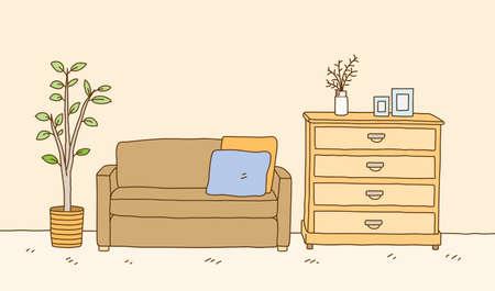 Minimalist interior furniture of sofa with dressing table and interior plant. hand drawn vector doodle illustration interior minimalist design.