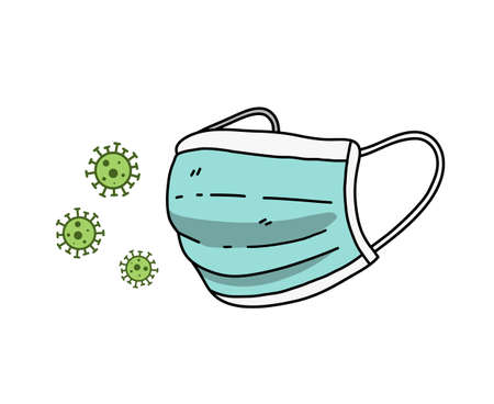 Antivirus surgical mask protects against corona viruses, hand drawn vector illustration of a face mask protects against COVID-19 virus.