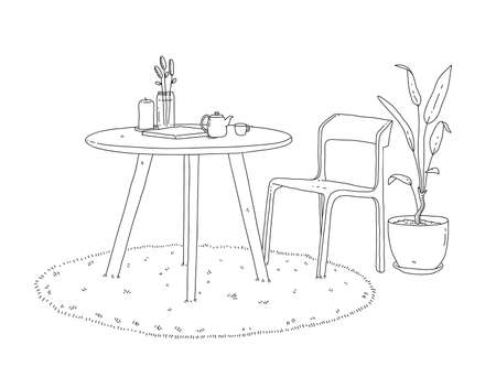 Minimalist furniture of a chair, table, round carpet and interior plant decoration, a hand drawn vector doodle of minimalist furniture for living room