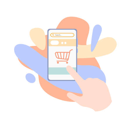 Online shopping on smartphone, flat illustration of shopping on online shop using mobile phone