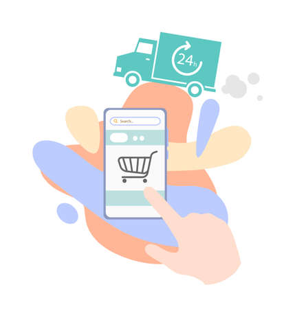 24 hour delivery service online shopping, flat illustration of shopping on online shop using mobile phone