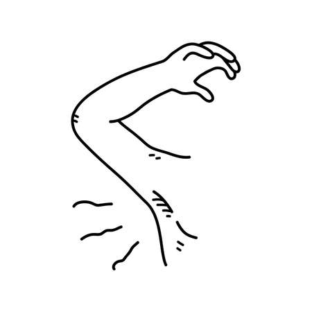 Smelly armpit body odor problem, a hand drawn vector doodle illustration of a stinky underarm.