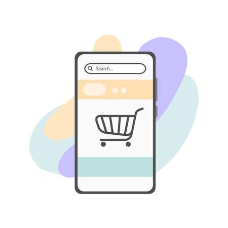 Online shopping on mobile phone, vector flat illustration of shopping online on phone
