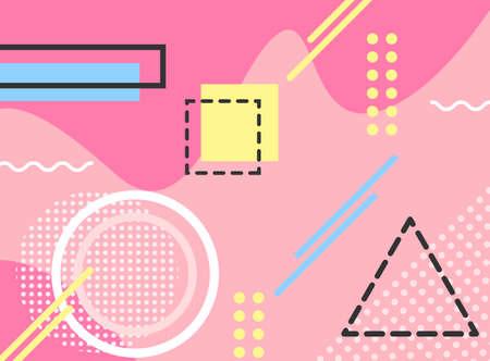 Memphis style geometric background playful design, abstract geometric background design template graphics, colorful geometric shape pattern
