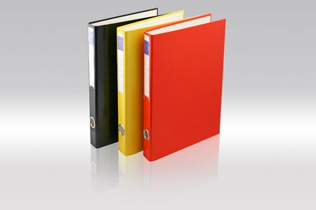 Three business folders on Gray background. Black, yellow and red colors. File with paths.