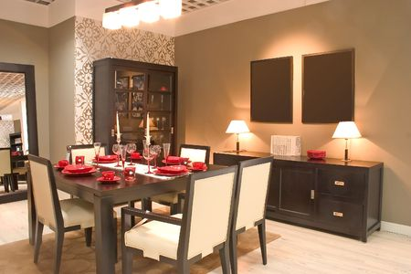 Modern dining room with furniture. Stock Photo